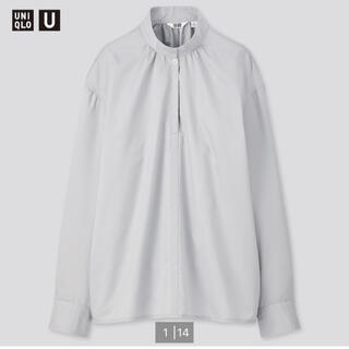 UNIQLO - ユニクロU コットンサテンスタンドカラーシャツ