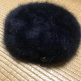 ベレー帽 ファー 黒(ハンチング/ベレー帽)