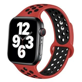 Apple Watch スポーツ バンド 42/44mm レッド/ブラック(ラバーベルト)