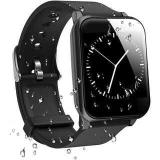 スマートウォッチ 活動量計 心拍計 IP67完全防水 1(ブラック)(腕時計(デジタル))