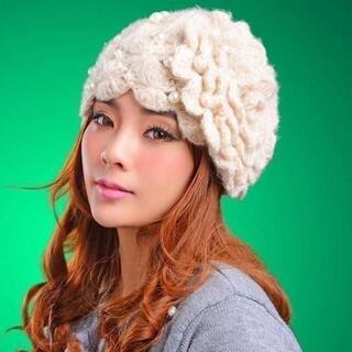 新品 ゴスロリ姫系 可愛い白薔薇の妖精パールニット帽 ロリィタ(ニット帽/ビーニー)