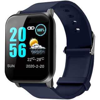 スマートウォッチ 活動量計 心拍計 IP67完全防水 (ブルー)(腕時計(デジタル))