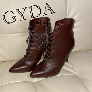 ジェイダ(GYDA)のGYDA ジェイダ 編み上げブーツ ヒール 茶色 ショートブーツ 美品(ブーツ)