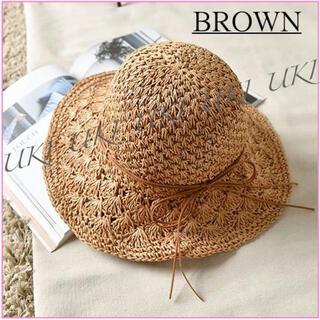 紫外線対策 麦わら帽子 ストローハット 通気性がいい ブラウン 新品未使用(麦わら帽子/ストローハット)