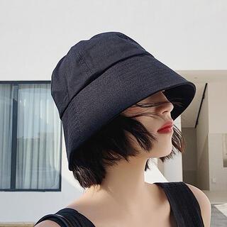【ブラック/M】ハット 帽子 UVカット つば広 小顔効果(ハット)