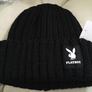 プレイボーイ(PLAYBOY)のプレイボーイ ニット帽 ブラック 黒(ニット帽/ビーニー)