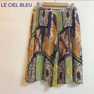 ルシェルブルー(LE CIEL BLEU)のLE CIEL BLEU ルシェルブルー 。スカーフ柄 プリーツスカート(ひざ丈スカート)