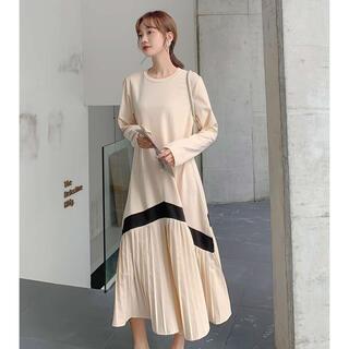 dholic - セール プリーツ  ロングワンピース  長袖 ゆったり 秋冬 韓国ファッション