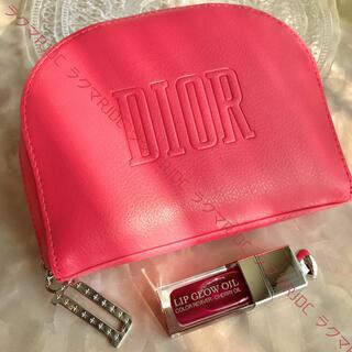 Christian Dior - 【新品未使用】ディオール レザー調 ホットピンク ラウンドファスナー ポーチ