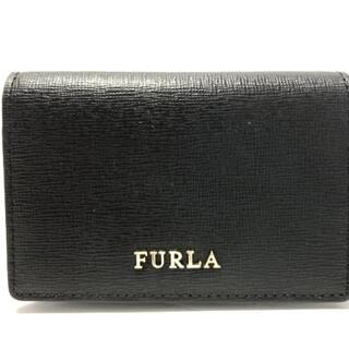 フルラ(Furla)のFURLA(フルラ) 名刺入れ美品  - 黒 レザー(名刺入れ/定期入れ)