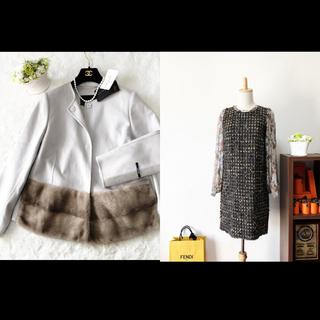 DOLCE&GABBANA - 美品 ドルチェ&ガッバーナ ドルガバ   ツイード シルク ワンピース ドレス