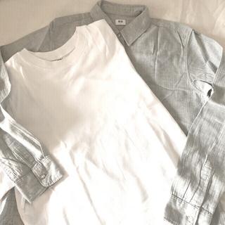 UNIQLO - UNIQLO 2枚セットクロップド T   & ライトグレーネルシャツ s