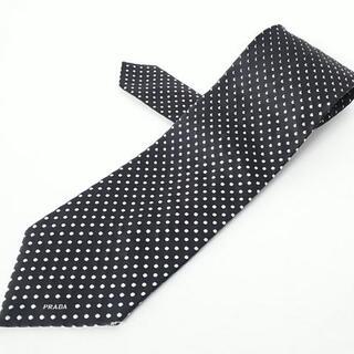 プラダ(PRADA)のプラダ ネクタイ メンズ 黒×白 ドット柄(ネクタイ)
