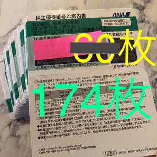 エーエヌエー(ゼンニッポンクウユ)(ANA(全日本空輸))の専用 最新 ANA 174枚 株主優待券 割引券(航空券)
