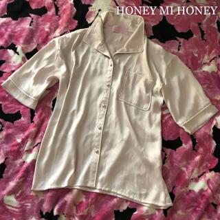 Honey mi Honey - HONEY MI HONEY【最終値下げ!】ロゴ刺繍 サテンブラウス