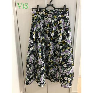 ヴィス(ViS)のViS 花柄 フレアスカート(ひざ丈スカート)