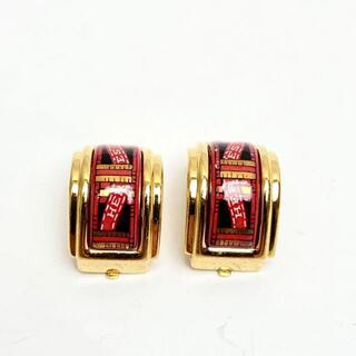 エルメス(Hermes)の【人気】エルメス イヤリング エマイユ 七宝 ゴールド レッド リボン柄 M23(イヤリング)