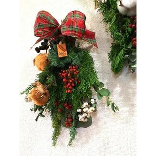 『SOLD』🎄 タータンチェックリボンが可愛い♥クリスマススワッグ 🎄(ドライフラワー)