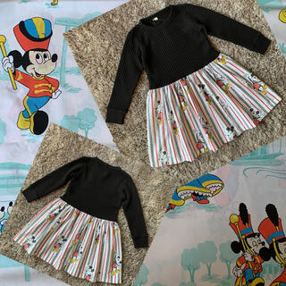 Disney - ミッキーワンピース110ビンテージシーツリメイクディズニー