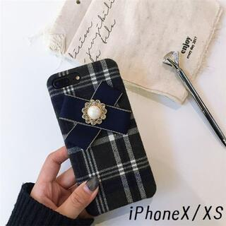 大人気!iPhoneX iPhoneXS チェック カバー ケース ブラック(iPhoneケース)
