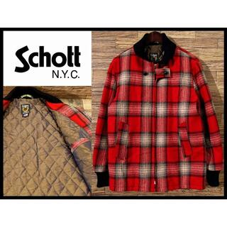 ショット(schott)の極美品 ショット ウール ツイード ジャケット 中綿 チェック ファラオ コート(ブルゾン)