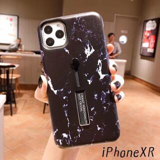 大人気! iPhoneXR 大理石 プリント カバー ケース ブラック(iPhoneケース)