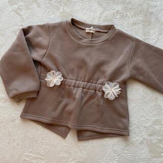 チュールお花付き 変形トレーナー 90size(Tシャツ/カットソー)