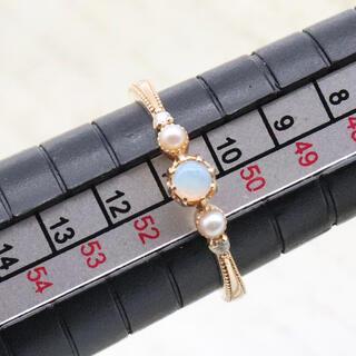 アガット(agete)のアガット k14 オパール&パール リング ダイヤ付き(リング(指輪))