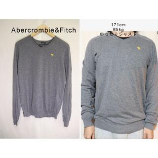 アバクロンビーアンドフィッチ(Abercrombie&Fitch)のAbercrombie&Fitchニットセーター/アバクロ老舗アメカジグレイM(ニット/セーター)
