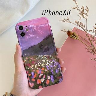 大人気! iPhoneXR ケース カバー 花畑 プリント(iPhoneケース)