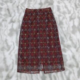プロポーションボディドレッシング(PROPORTION BODY DRESSING)の花柄チェックのレーススカート(赤)(ロングスカート)