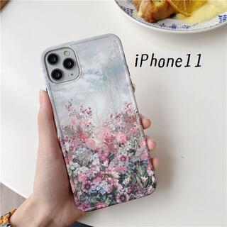 大人気! iPhone11 ケース カバー 花畑 プリント(iPhoneケース)