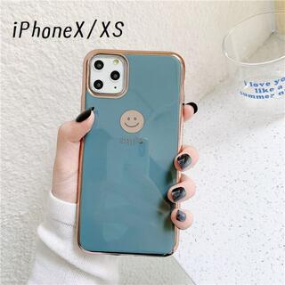 大人気!iPhoneX iPhoneXS にこちゃん カバー ケース グレー(iPhoneケース)