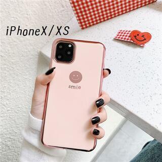 大人気!iPhoneX iPhoneXS にこちゃん カバー ケース ピンク(iPhoneケース)