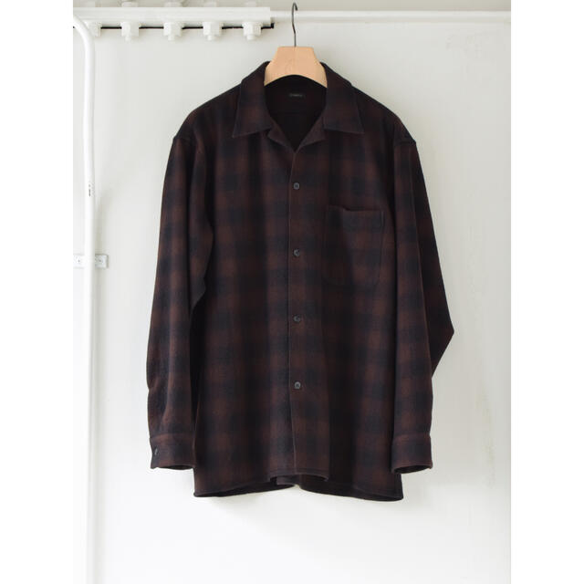 COMOLI(コモリ)のCOMOLI 20AW新作 ウールチェックオープンカラーシャツ サイズ3 新品 メンズのトップス(シャツ)の商品写真