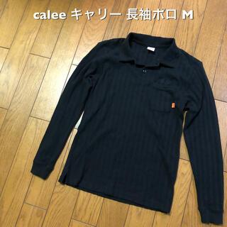 キャリー(CALEE)のMサイズ!日本製calee  キャリー 古着長袖ポケット付きポロシャツ 黒 (ポロシャツ)