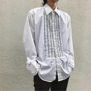 【極美品】70s white Frilled shirt