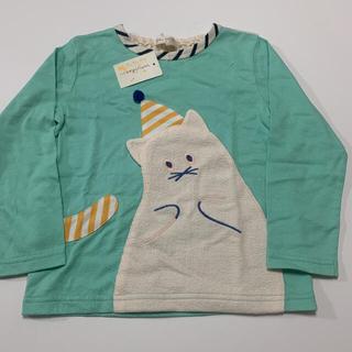 センスオブワンダー(sense of wonder)のベイビーチアー   帽子ねこロンT 110 ミント(Tシャツ/カットソー)