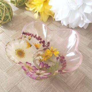 固まるハーバリウム 小物入れ 花皿 (クリア/薄ピンク_A)