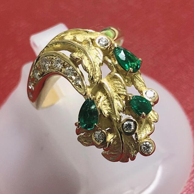 ☆ 松崎 勉 松崎 恵子 エメラルドリング ☆ k18 yg ダイヤモンドリング レディースのアクセサリー(リング(指輪))の商品写真