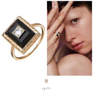 agete - 新品♡agete♡ブラックカルセドニー&ホワイトトパーズ♡K10SVリング
