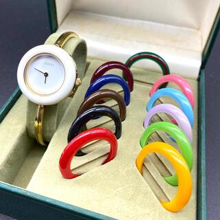 Gucci - 良品☆ 新品電池交換済み GUCCI チェンジベゼル Sサイズ レディース腕時計