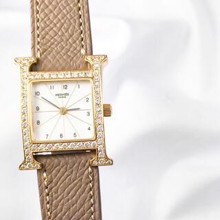Hermes - 【保証書付】エルメス Hウォッチ ゴールド ダイヤ レディース 腕時計