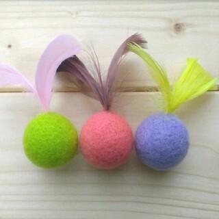 猫のおもちゃ 羊毛フェルトボール 鈴入り(おもちゃ/ペット小物)