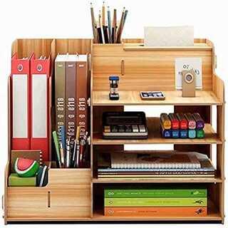 ブラウン卓上収納ケース デスク 本立て 小物収納 机上収納ボックス 棚 本立て (オフィス収納)