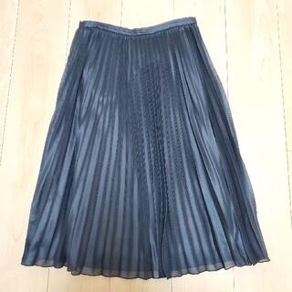 ナチュラルビューティーベーシック(NATURAL BEAUTY BASIC)のNATURALBEAUTYBASIC  チンツ プリーツスカート ブラック (ひざ丈スカート)