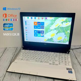エヌイーシー(NEC)の美品ノートパソコン新品爆速SSD512GB(ノートPC)
