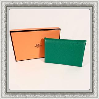 Hermes - HERMES エルメス カルヴィ カードケース 名刺入れ シェーブル  C刻 緑
