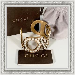 Gucci - GUCCI グッチ バングル ブレスレット LOVED パール ゴールド 17