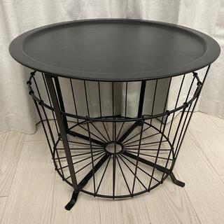 イケア(IKEA)のIKEA ワイヤー バスケットテーブル モダン 黒 ブラック(ローテーブル)